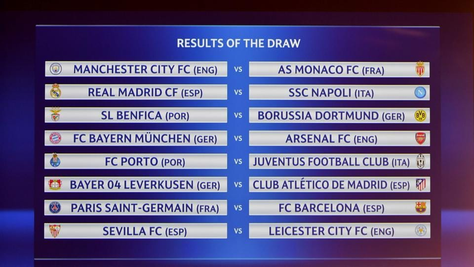 A screen displays the names of the clubs that will be facing each other in the round of 16 of the UEFA Champions League.