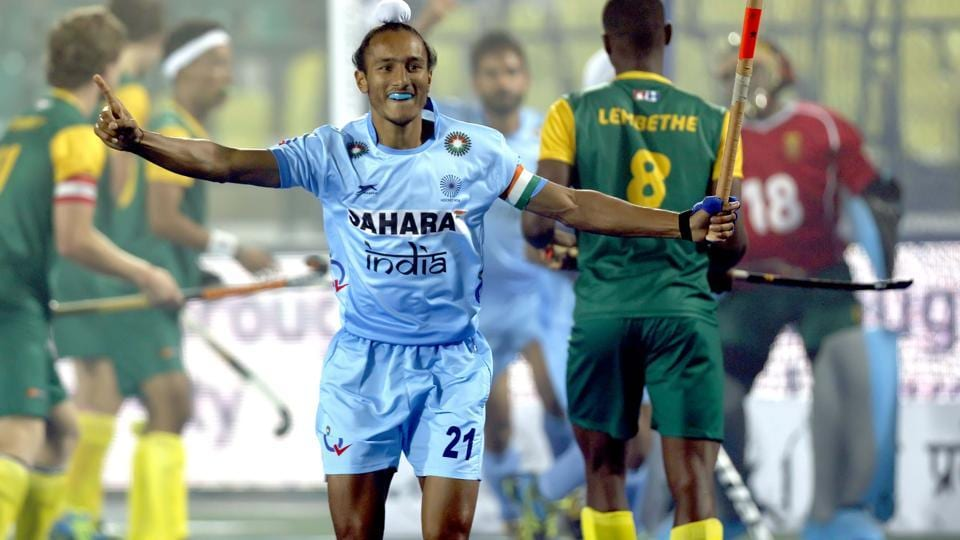 India's captain Harjeet Singh exults after scoring against South Africa in a hockey junior World cup match in Lucknow on Monday.