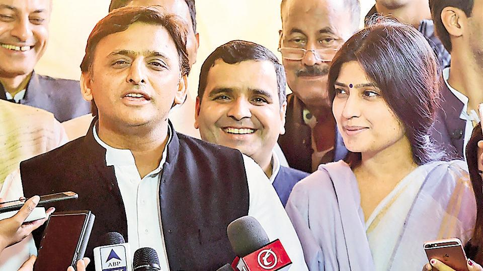 "UP chief minister Akhilesh Yadav talking to media at Parliament House in New Delhi recently, where he said if an ""alliance"" with the Congress took shape in the state before the assembly elections, the opposition parties would face a humiliating defeat"