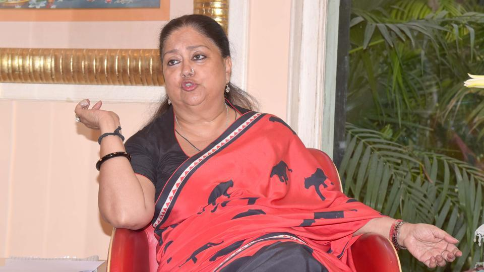 Rajasthan chief ministerVasundhara Raje talks to Hindustan Times during an interview at the  CM's residence in Jaipur.