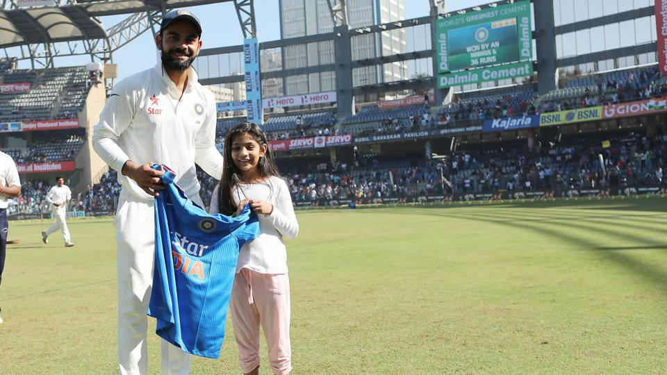 Virat Kohli gave a young fan the Indian Team limited overs jersey following the win over England. (BCCI)