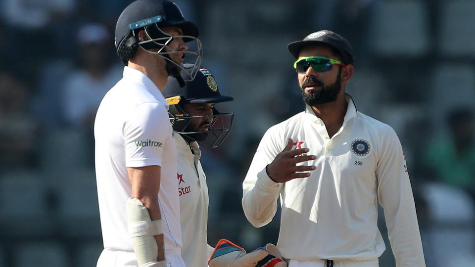 Virat Kohli and James Anderson exchange words on day 5 of the fourth India vs England Test at Mumbai's Wankhede Sdaium on Monday. India won by an innings to take an unbeatable 3-0 lead in the five-match series.