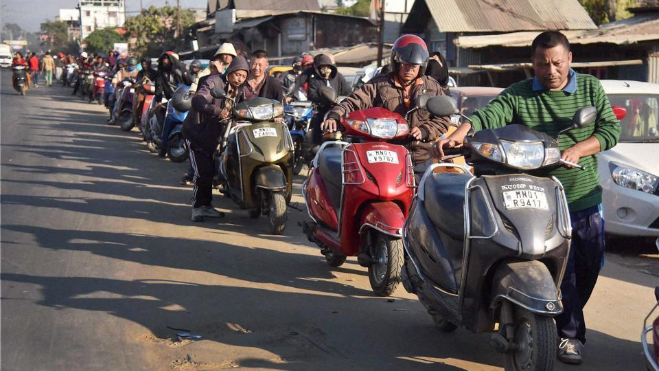 The state of Manipur is facing acute shortage of petrol and cooking gas as a result of the indefinite economic blockade imposed by the United Naga Council.