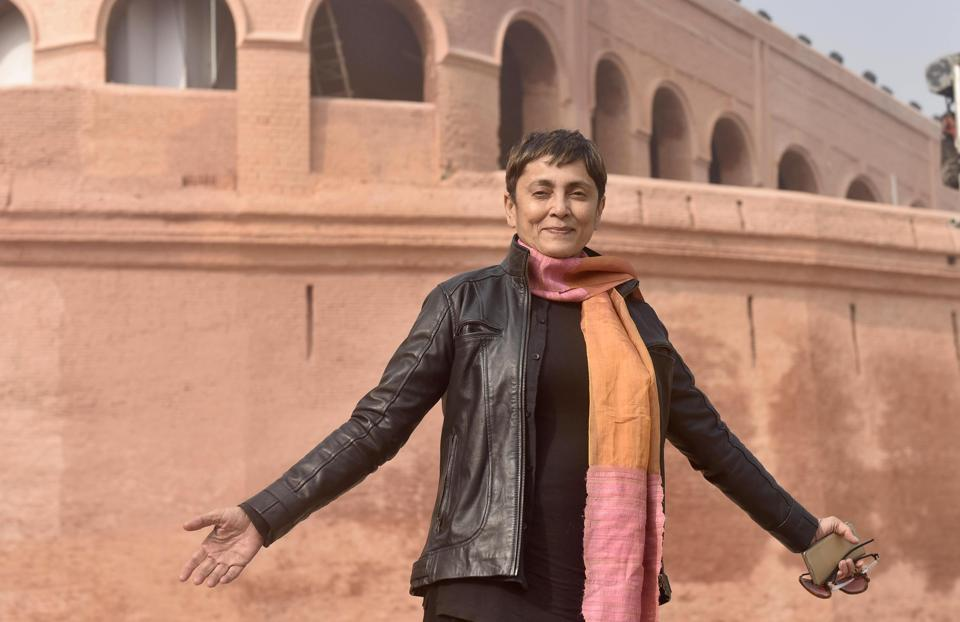 Deepa Sahi Bollywood actress, director and producer at Gobindgarh Fort in Amritsar on Sunday.