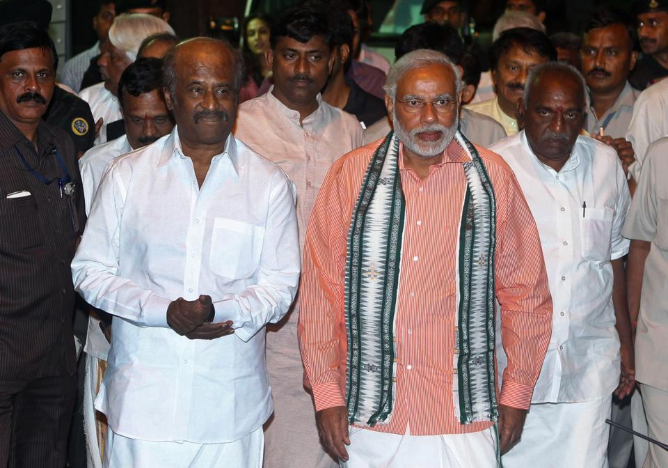 Tamil Superstar Rajinikanth (left) with then BJP's prime ministerial candidate Narendra Modi, April 2014.