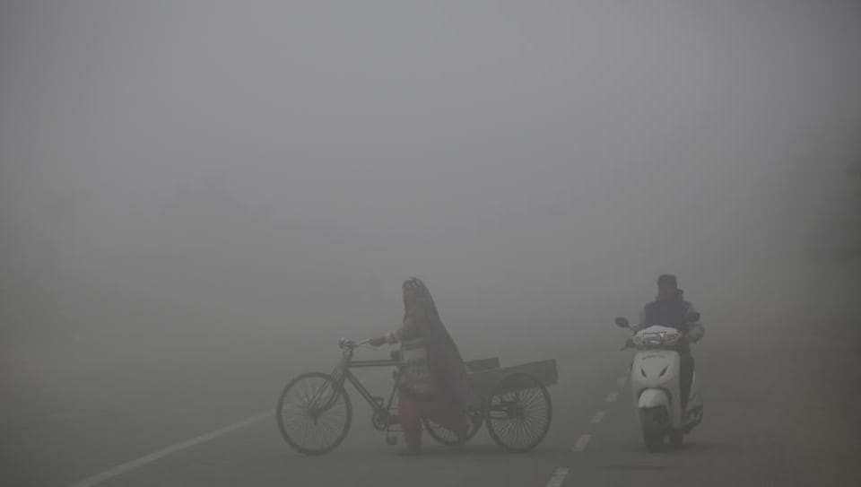 A scooterist rides past a woman pushing her cycle cart on a foggy morning on the outskirts of New Delhi on December 8.