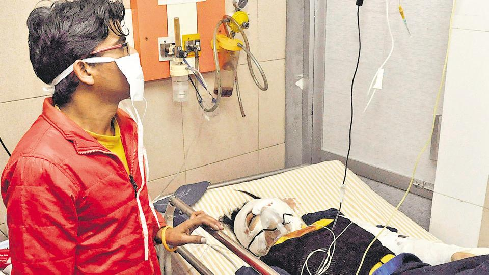 Accident victim Taranpreet Kaur undergoing treatment at hospital in Jalandhar on Sunday.