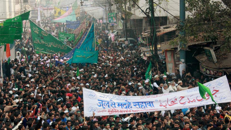 Muslims take part in Jaloos-e-Madeh Sahaba, a religious procession, on the occasion of Eid-e- Milad-un Nabi in Lucknow. (PTI Photo)
