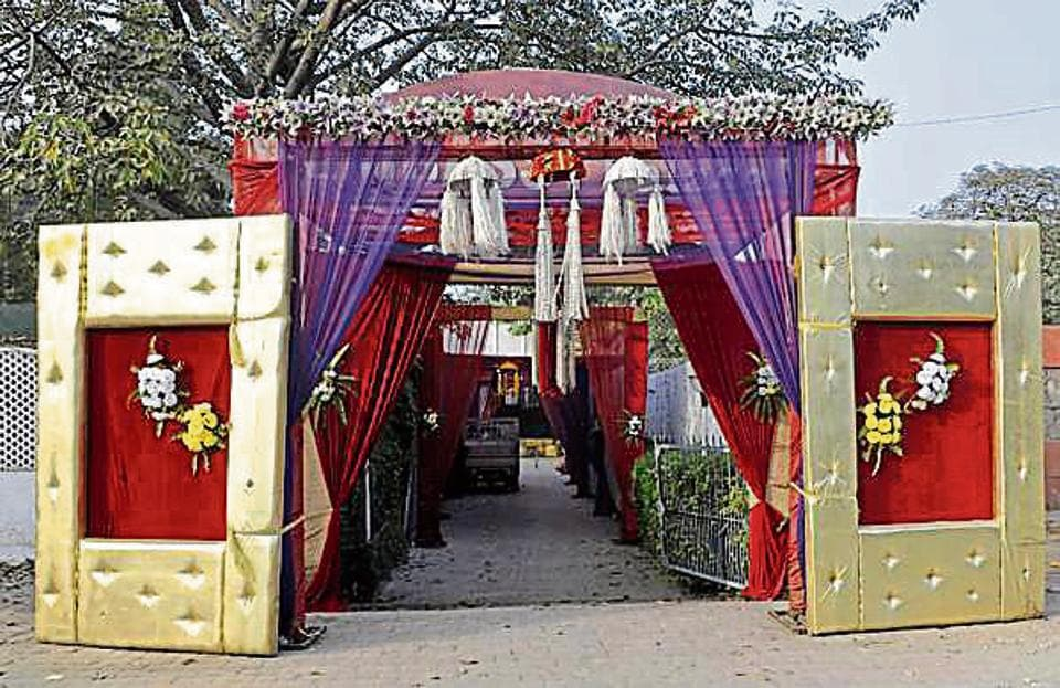 A view of the Marriage Palace on Ferozepur Road in Ludhiana on Monday.