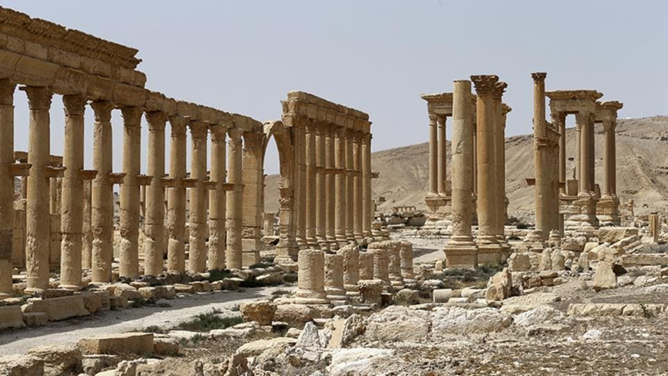 A photo taken on April 8, 2016 shows the ancient ruins in Palmyra, Syria.