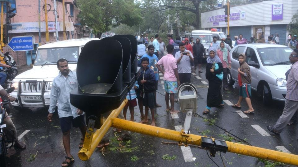 Severe cyclonic storm Vardah made landfall near Chennai coast on Monday, wreaking a havoc in the city. Heavy rains and the storm that followed uprooted hundreds of trees and electric and traffic poles across the east coast.