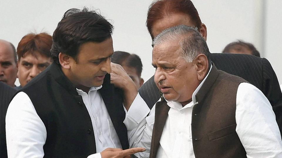 Samajwadi Party supremo Mulayam Singh Yadav and UP CM Akhilesh Yadav.