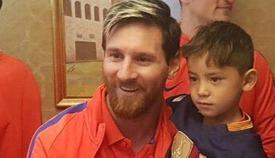 4103f3165 Dream come true  Afghan boy finally meets idol Lionel Messi ...