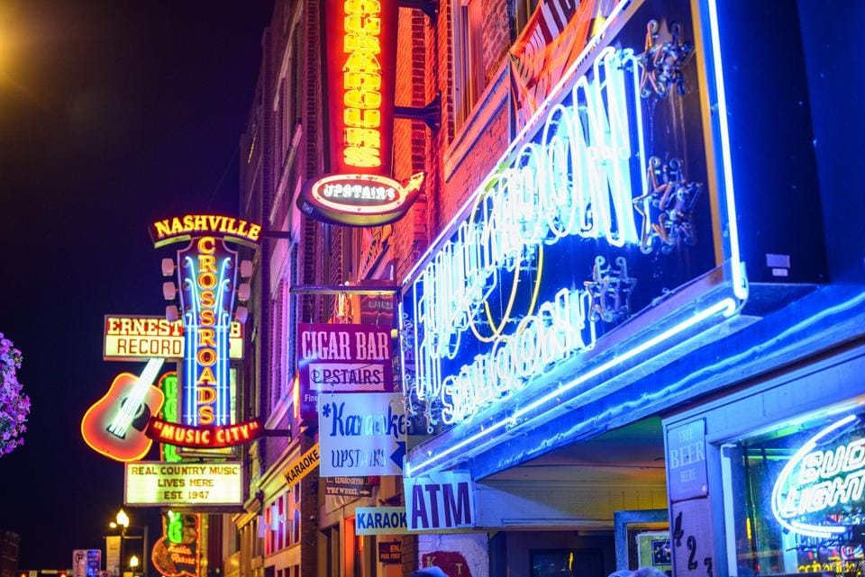 Nightlife in Nashville, Tennessee.