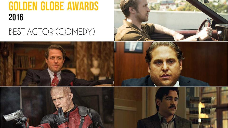 Clockwise from top right: Ryan Gosling, La La Land; Jonah Hill, War Dogs; Colin Farrell, The Lobster; Ryan Reynolds, Deadpool and Hugh Grant, Florence Foster Jenkins.