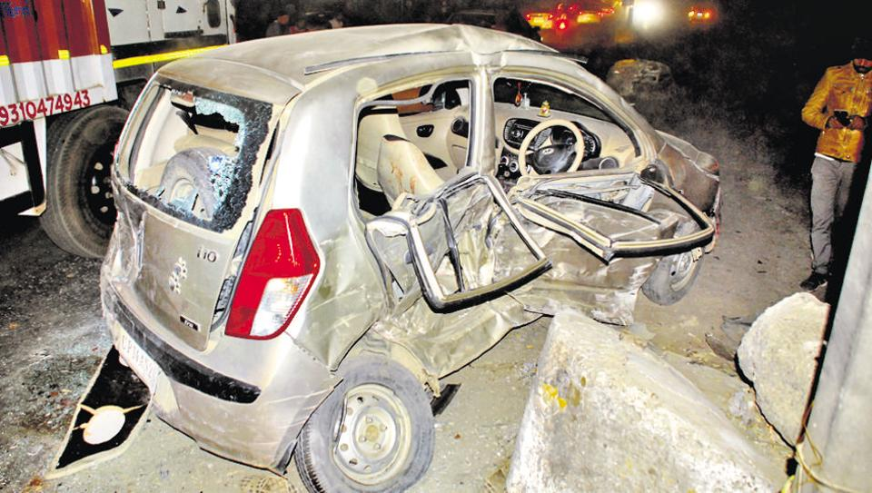 The i-10 car that was damaged in the accident on NH-58. The driver was killed and four members of his family suffered severe injuries.