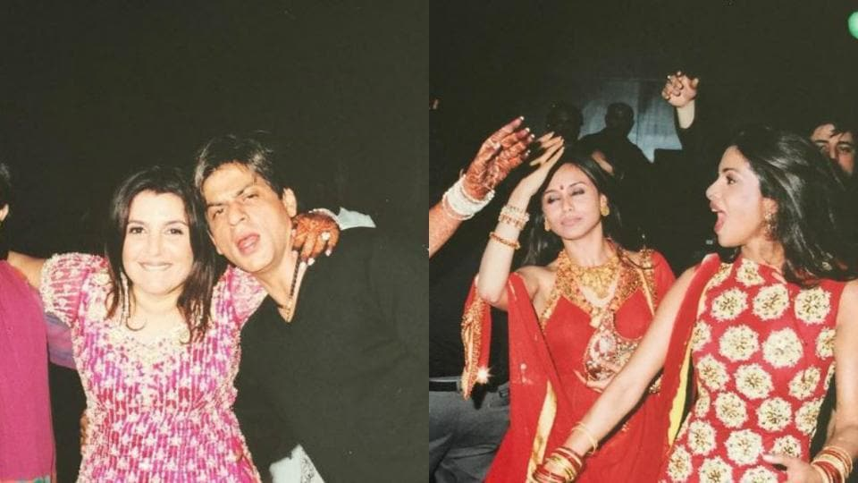 Farah can be seen having a good time at her sangeet with SRK, Priyanka, Rani Mukerji and other Bollywood celebs.
