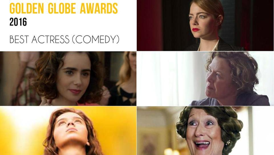 Clockwise from top right: Emma Stone, La La Land; Annette Bening, 20th Century Women; Meryl Streep, Florence Foster Jenkins; Hailee Steinfeld, The Edge of Seventeen and Lily Collins, Rules Don't Apply.