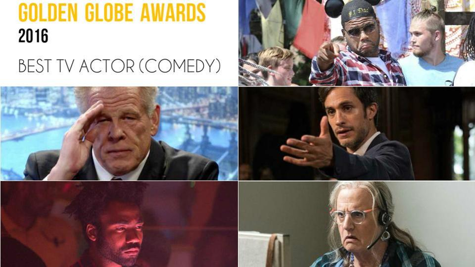Clockwise from top right: Anthony Anderson, black-ish; Gael Garcia Bernal, Mozart in the Jungle; Jeffrey Tambor, Transparent; Donald Glover, Atlanta and Nick Nolte, Graves.