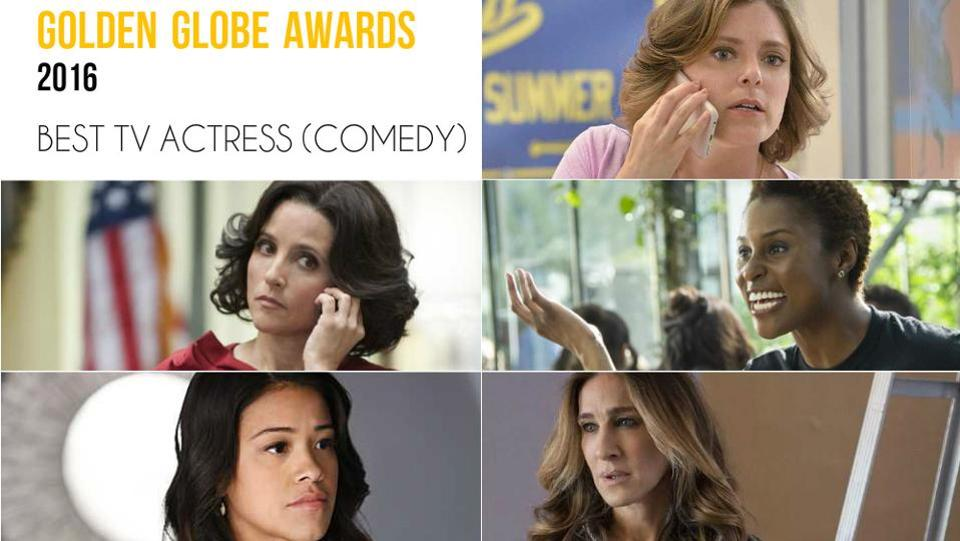 Clockwise from top right: Rachel Bloom, Crazy Ex-Girlfriend; Issa Rae, Insecure; Sarah Jessica Parker, Divorce; Gina Rodriguez, Jane The Virgin and Julia Louis-Dreyfus, Veep.