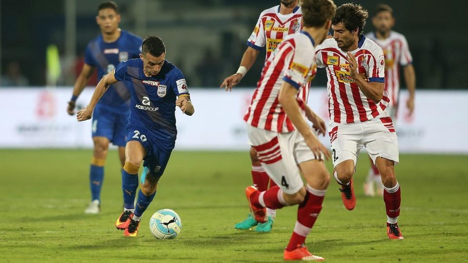 Mumbai City FC striker Matias Defederico takes a shot against Atletico de Kolkata.
