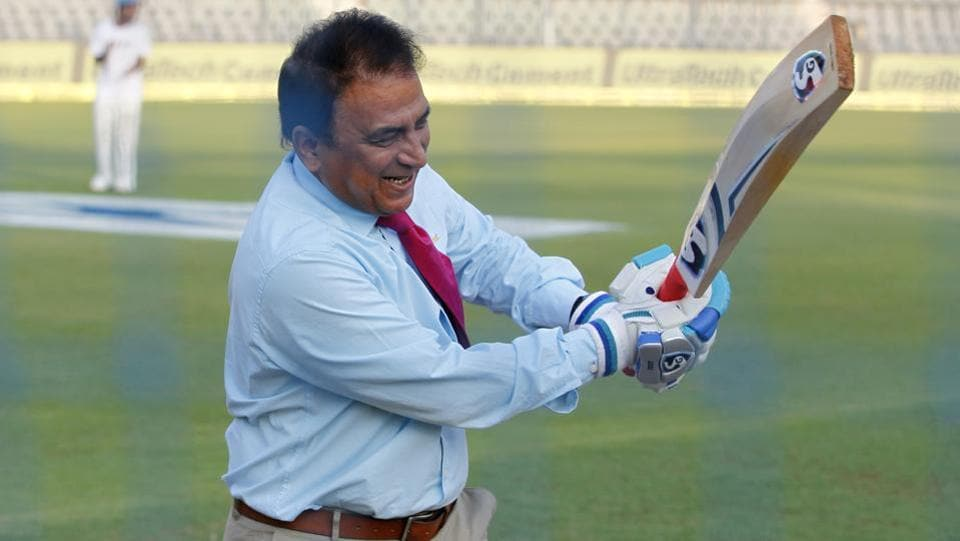 Sunil Gavaskar in playful mood during day 2 of the fourth India vs England Test match at the Wankhede Stadium in Mumbai on December 9, 2016