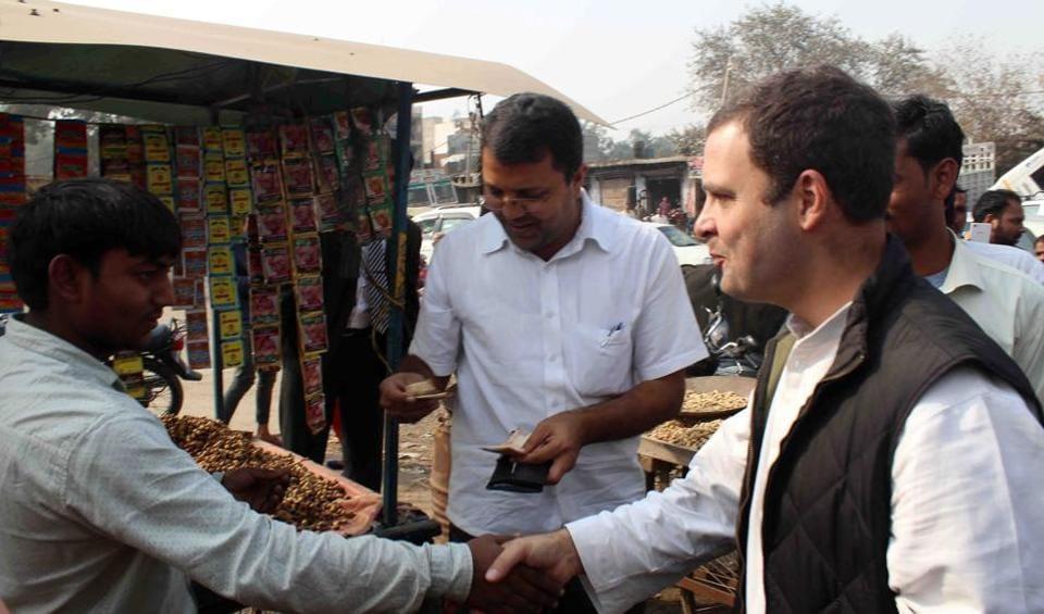 Rahul Gandhi met farmers, traders  and small businessmen at the Dadri Anaj Mandi (wholesale grain market) in Greater Noida.