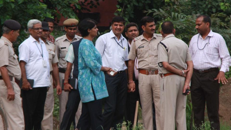 CBI Team and police team visited the spot where Geetanjali Garg's body was found in the Police lines complex on July 17 , in Gurgaon, India, on Thursday, August 08, 2013.