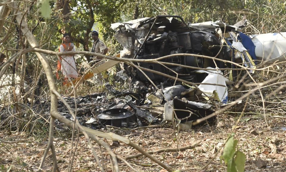 One person died and three others were injured when a helicopter crashed in Aarey Colony in Mumbai's Goregaon on Sunday