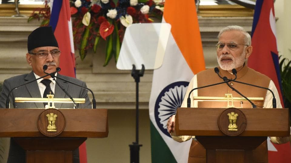 Prime Minister Narendra Modi speaks during a joint press conference with Nepalese Prime Minister Pushpa Kamal Dahal in New Delhi in September 2016.