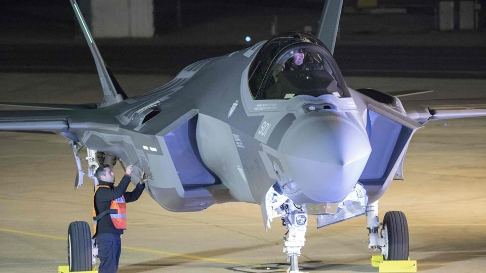 A F-35 fighter jet is seen after landing in the Israeli Nevatim Air force base in the Negev desert, near the southern city of Beersheva, on December 12.