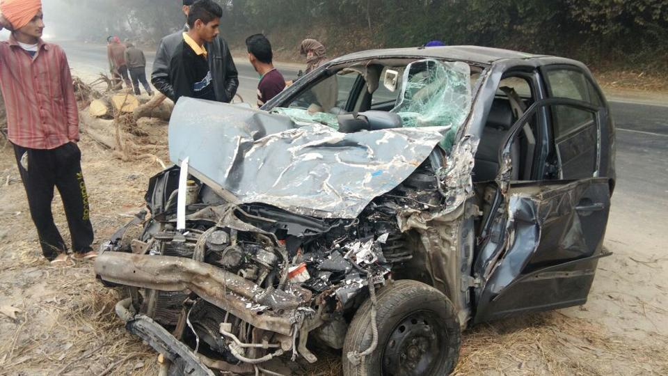 The victims' car near Kathgarh in SBS Nagar on Tuesday, December 13.
