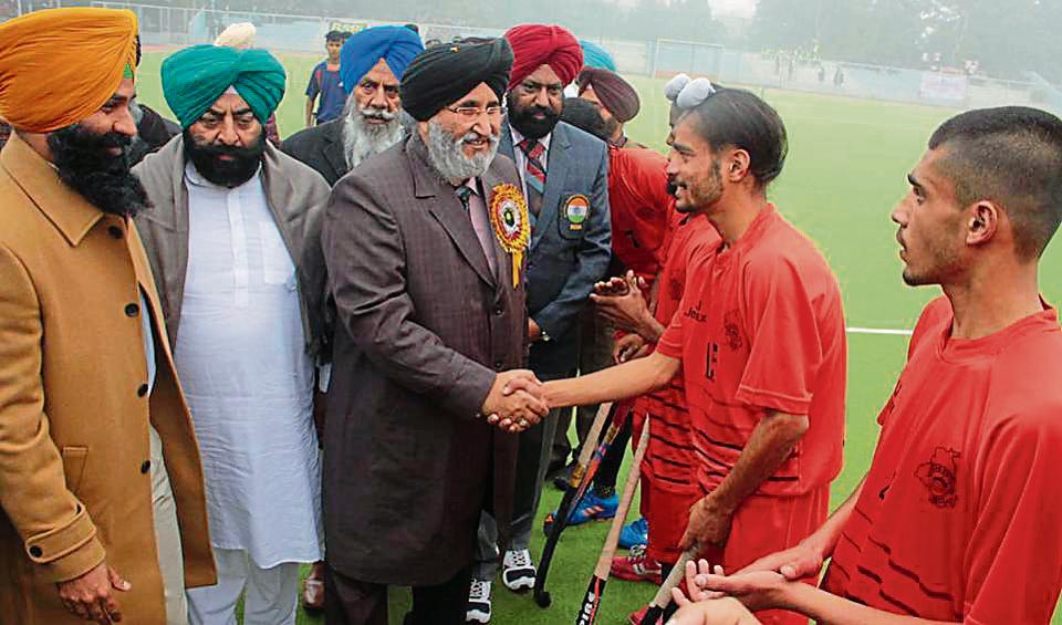 Punjab education minister Dr Daljit Singh Cheema meeting with players during 62nd National School Games at Surjit Hockey Stadium, Burlton Park in Jalandhar on Tuesday.
