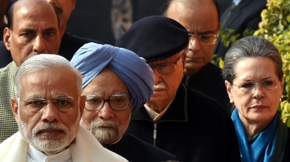 Prime Minister Narender Modi, former PM Manmohan Singh, senior .BJP Leader LK Advani, Union home minister Rajnath Singh, finance minister Arun Jaitley and Congress leader Ghulam Nabi Azad arrive for the flower tribute to Parliament terrorist attack martyrs at Parliament House in New Delhi on Tuesday. (Arun Sharma/HT )
