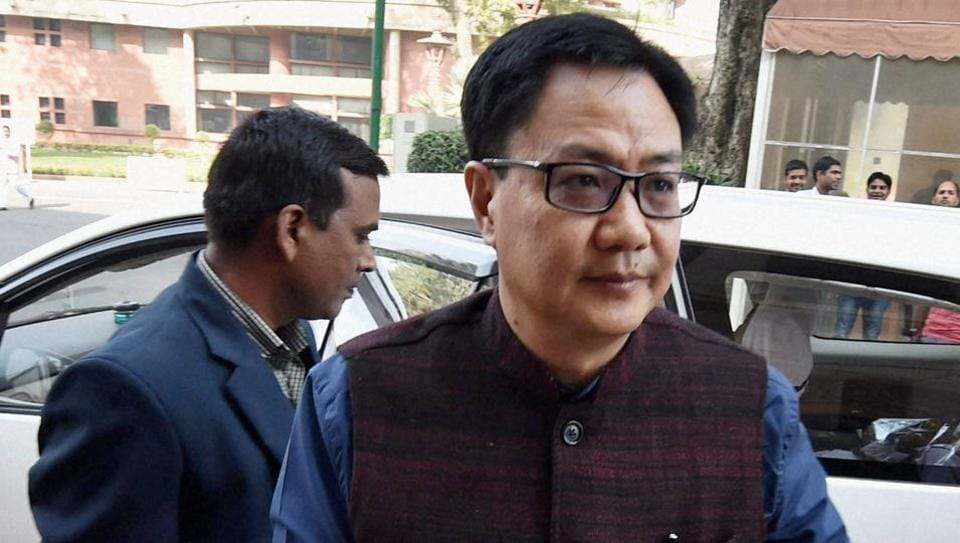 New Delhi: Minister of State for Home Affairs, Kiren Rijiju at Parliament during the winter session, in New Delhi.