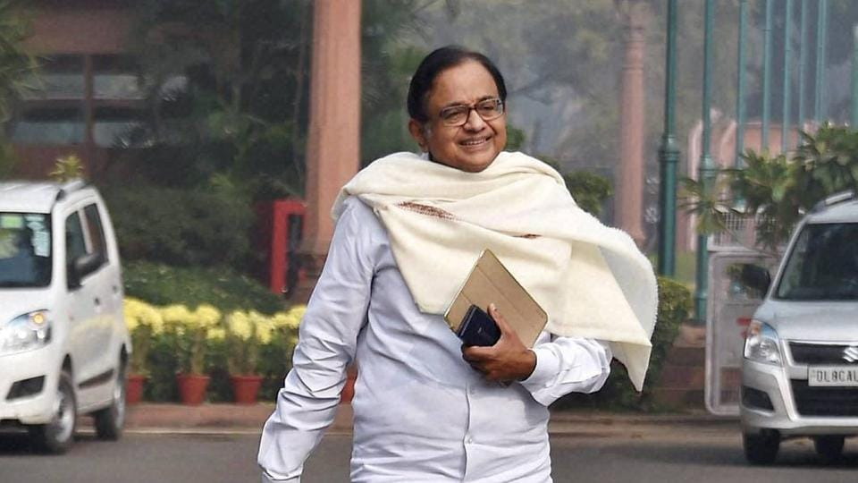 Congress leader P Chidambaram at Parliament House during the winter session.