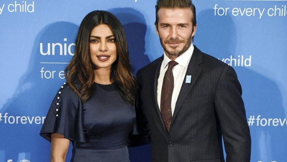 Priyanka Chopra poses with UNICEF Goodwill Ambassador David Beckham at UNICEF's 70th anniversary gala on Monday.