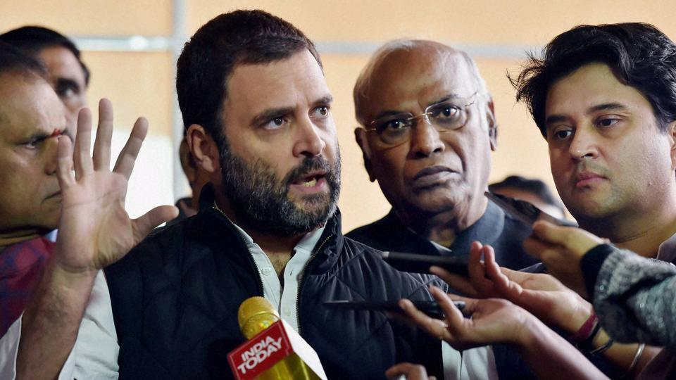 Congress vice president Rahul Gandhi addressing media after a protest to observe a 'Black Day' against demonetization during the Winter Session at Parliament House in New Delhi on Dec 8, 2016.