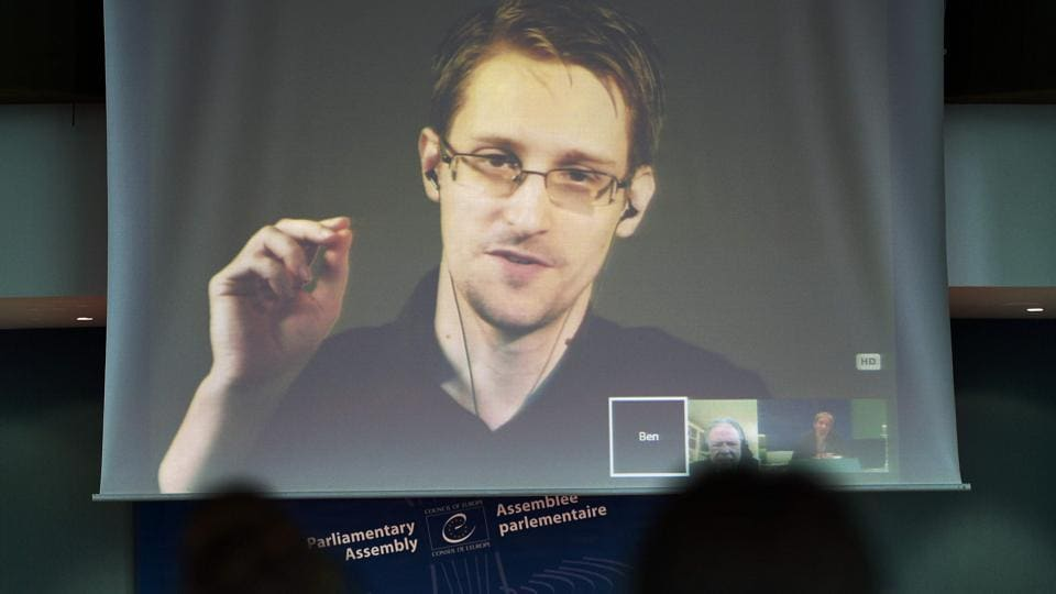 NSA former intelligence contractor Edward Snowden participates in a parliamentary hearing via video link from Russia in 2015.