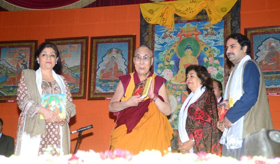 His Holiness the Dalai Lama was recently presented a set of books on great Indian Buddhist masters.