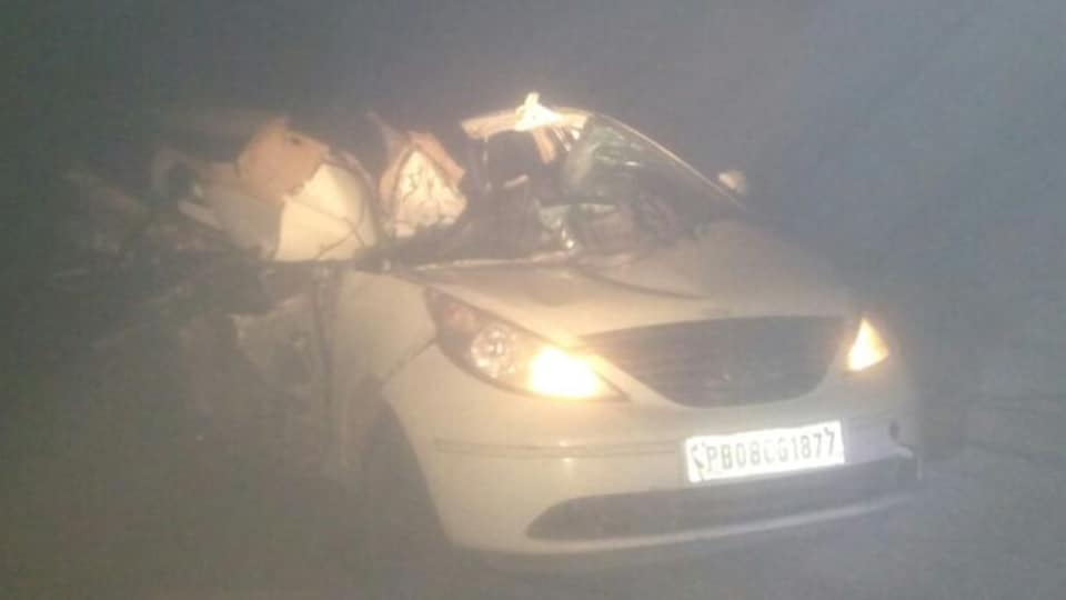 Photo of the damaged car after the accident on national Highway-1 that killed 3 students, in Phagwara on Wednesday.