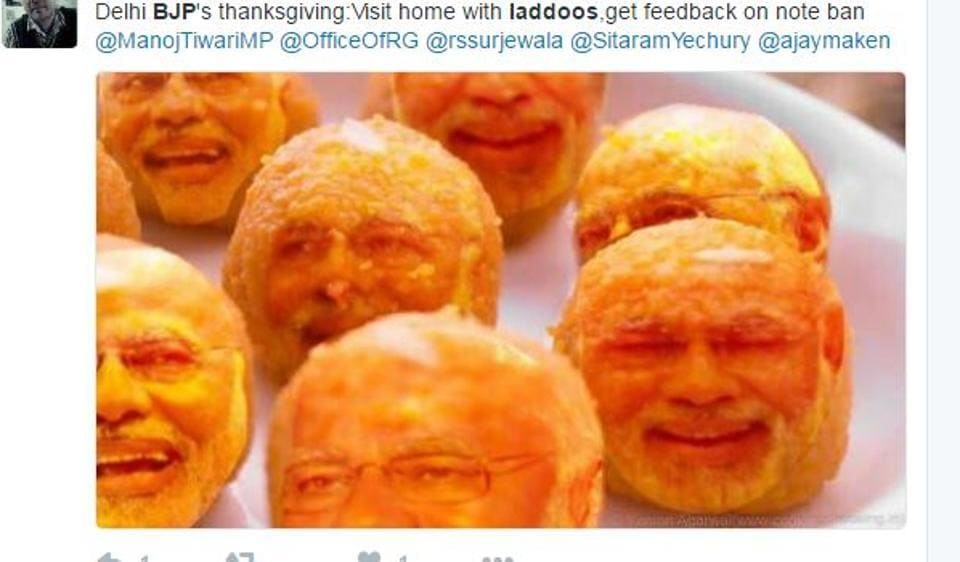 Twitter came up with funny reactions after Delhi's  BJP chief announced that the party members will distribute laddoos in the Capital.
