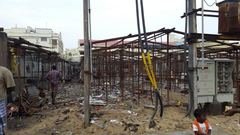 Remains of fishermen's huts in Nochi Kuppam in the wake of Cyclone Vardah.