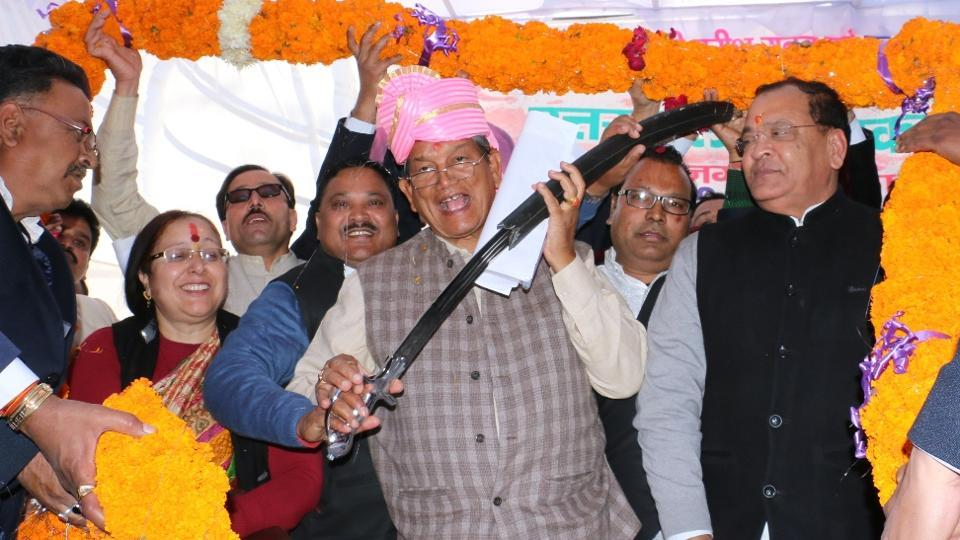 Chief minister Harish Rawat during a meeting with Valmiki community members in Nainital on Wednesday.