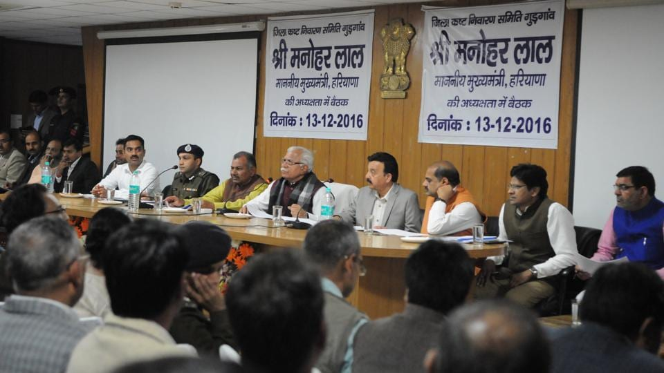 Haryana CM Manohar Lal Khattar at the district grievances meeting, in Gurgaon on Tuesday.