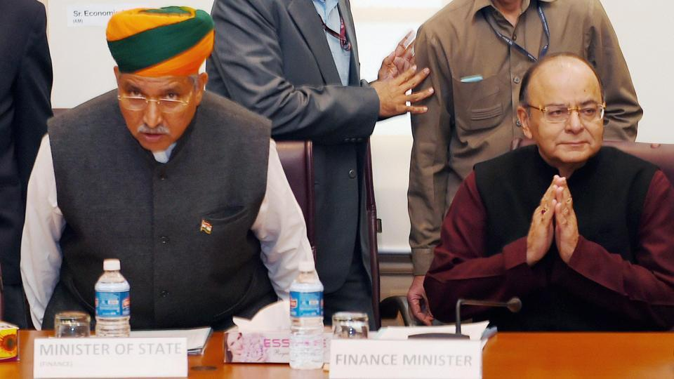 Union finance minister Arun Jaitley with MoS Arjun Ram Meghwal at a meeting at North Block in New Delhi.