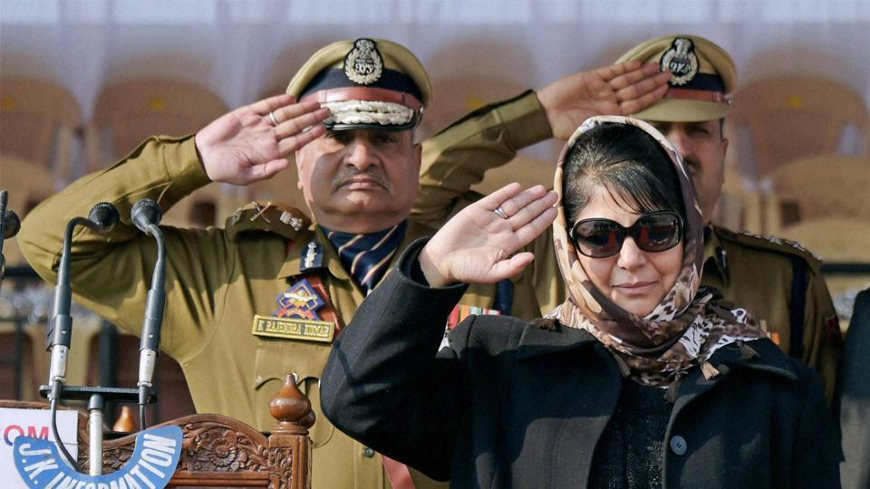 Jammu and Kashmir chief minister Mehbooba Mufti with J & K police chief K Rajandra.