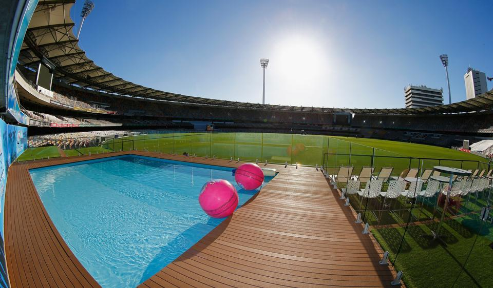 "A view of the Gabba pool deck during an Australian nets session at The Gabba. The metre-deep  pool will be opened to spectators during the Australia-Pakistan Test to give them a ""different experience of the game""."