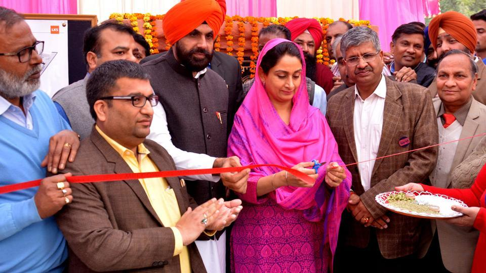 Union Minister for food processing industry Harsimrat Kaur Badal cutting the ribbon at the foundation stone-laying ceremony in Bathinda on Tuesday.
