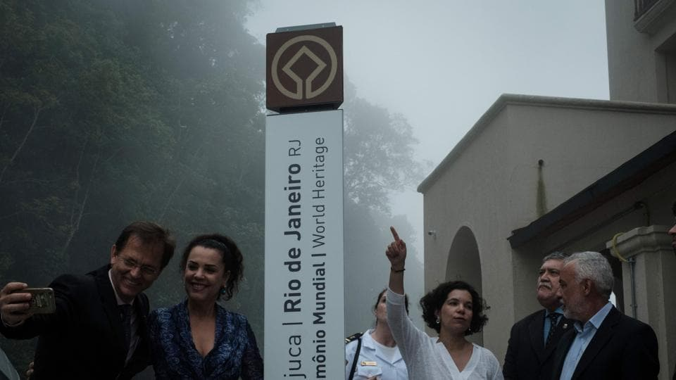 UNESCO's world heritage sign is inaugurated after the ceremony of the official presentation of the registration document of Rio de Janeiro city as